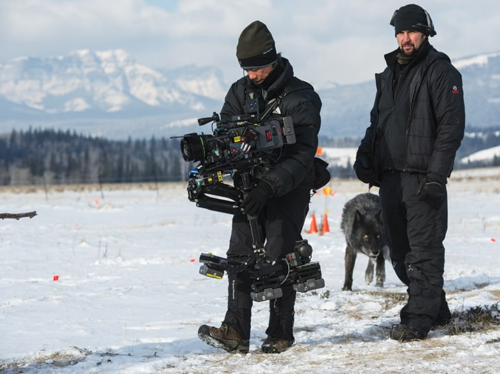 Scott with Ryan Monro (dolly grip) executing a shot in the wolf sequence. Photo by Kimberly French