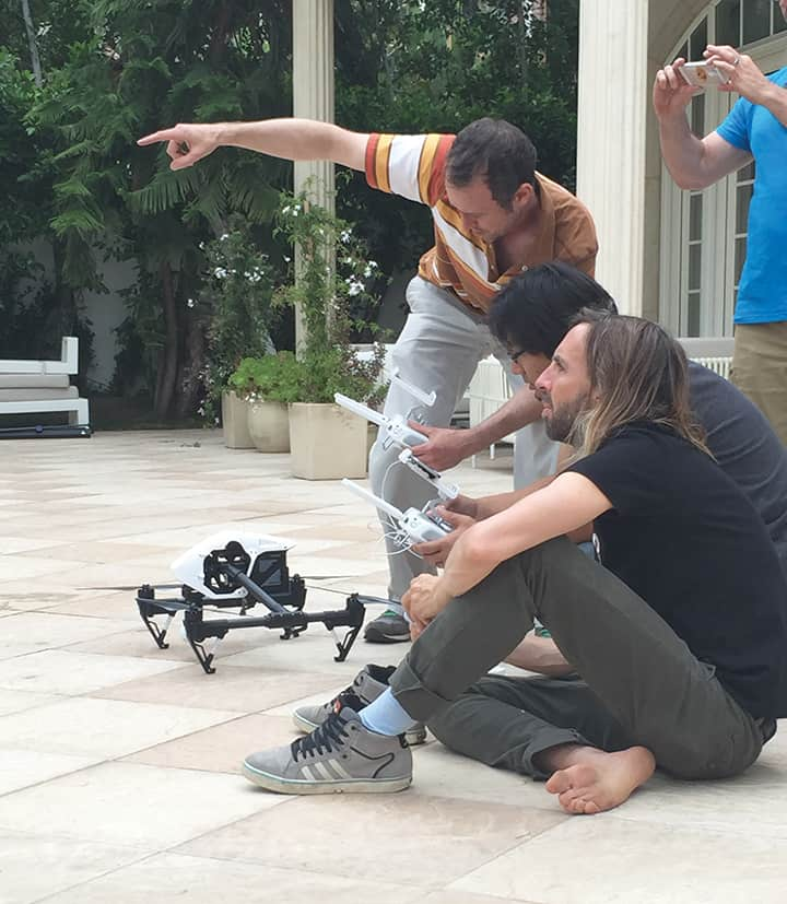 Dan Coplan and DP plan a shot using the DJI Inspire for an A$AP Rocky music video. Photo by Matt Finnerty