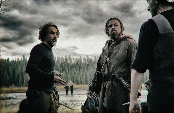 Renowned filmmaker Alejandro González Iñárritu (Birdman, Babel) directs Leonardo DiCaprio on the set of THE REVENANT. Copyright © 2015 Twentieth Century Fox Film Corporation. All rights reserved. Photo by Kimberley French